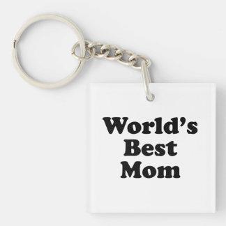 World's Best Mom Single-Sided Square Acrylic Keychain