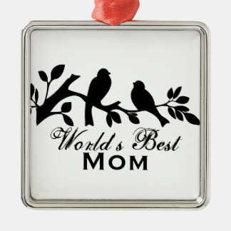 World's Best Mom sparrows silhouette branch design Metal Ornament