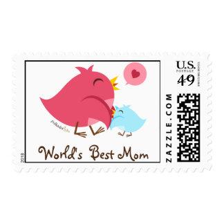 World's Best Mom Stickers Postage Stamp