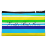 Worlds Best Mom Summer Stripes Teal Cosmetic Bag