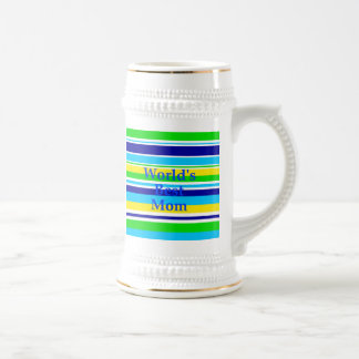Worlds Best Mom Summer Stripes Teal Lime Yellow Beer Stein