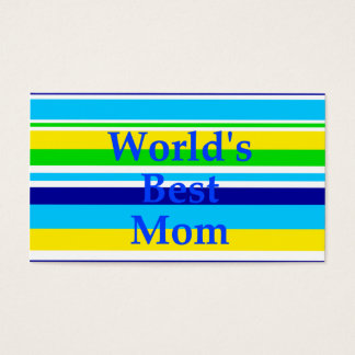 Worlds Best Mom Summer Stripes Teal Lime Yellow Business Card