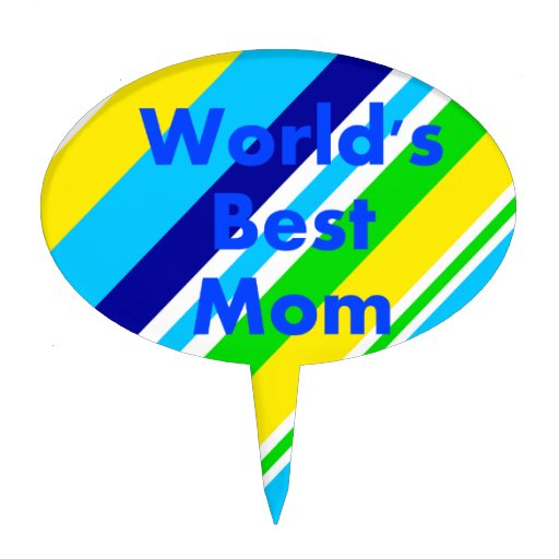 Worlds Best Mom Summer Stripes Teal Lime Yellow Cake Pick