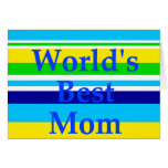 Worlds Best Mom Summer Stripes Teal Lime Yellow Stationery Note Card