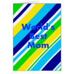Worlds Best Mom Summer Stripes Teal Lime Yellow Greeting Card