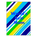 Worlds Best Mom Summer Stripes Teal Lime Yellow Greeting Cards