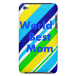 Worlds Best Mom Summer Stripes Teal Lime Yellow Barely There iPod Cases