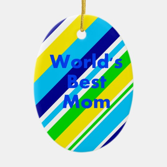 Worlds Best Mom Summer Stripes Teal Lime Yellow Ceramic Ornament