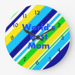 Worlds Best Mom Summer Stripes Teal Lime Yellow Wall Clocks