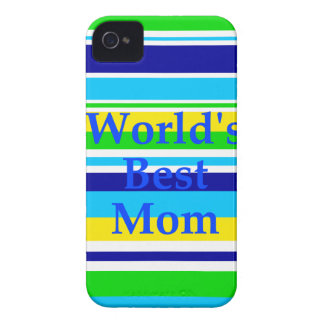 Worlds Best Mom Summer Stripes Teal Lime Yellow iPhone 4 Covers