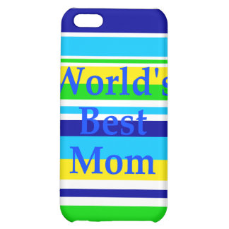 Worlds Best Mom Summer Stripes Teal Lime Yellow iPhone 5C Cases