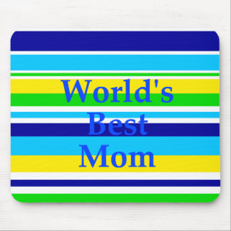 Worlds Best Mom Summer Stripes Teal Lime Yellow Mouse Pad