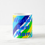 Worlds Best Mom Summer Stripes Teal Lime Yellow Coffee Mug