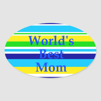 Worlds Best Mom Summer Stripes Teal Lime Yellow Oval Sticker