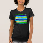 Worlds Best Mom Summer Stripes Teal Lime Yellow Tshirt