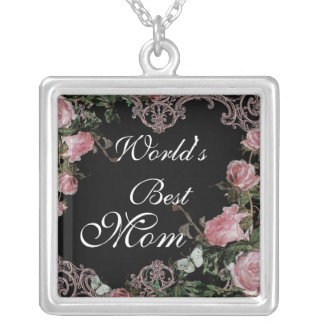 Worlds Best Mom - Trellis Rose Vintage necklace