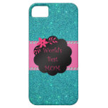 World's best mom turquoise glitter iPhone 5 covers