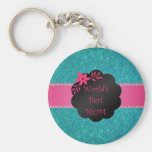 World's best mom turquoise glitter key chains