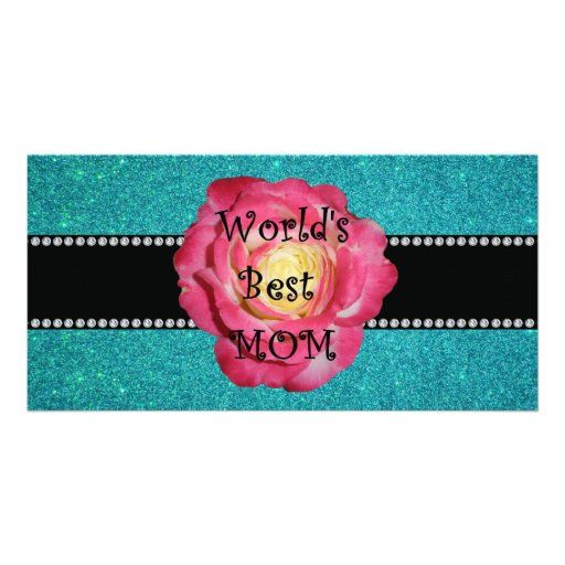 World's best mom turquoise glitter photo cards