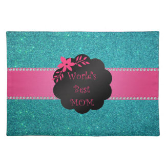 World's best mom turquoise glitter placemat