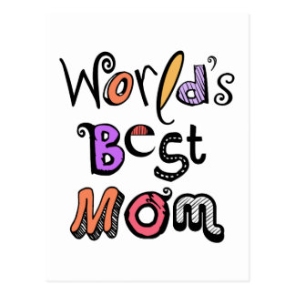 World's Best Mom Typography Postcard