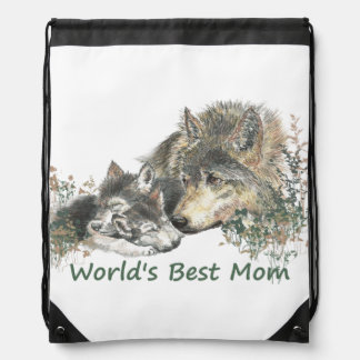 World's Best Mom Watercolor Wolf & Cub Nature Art Drawstring Backpacks