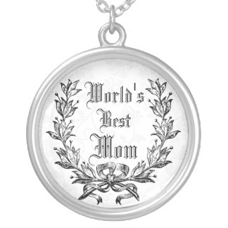 world's best mom,wife, girlfriend,....edit text round pendant necklace