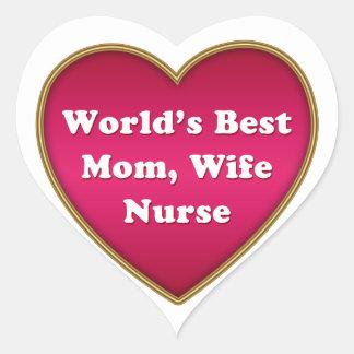 World's Best Mom Wife Nurse Heart Heart Sticker