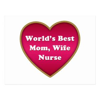 World's Best Mom Wife Nurse Heart Postcard