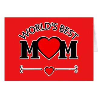World's Best Mom with Hearts Greeting Card
