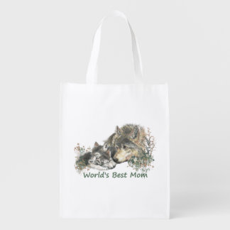 World's Best Mom Wolf & Cub Animal art Reusable Grocery Bag