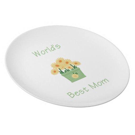 World's Best Mom (yellow flowers) Plate