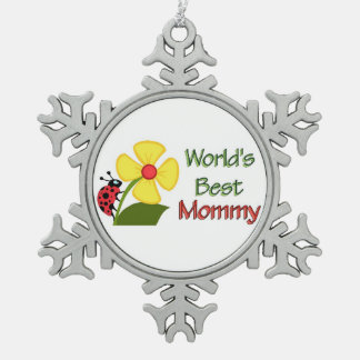 Worlds Best Mommy Snowflake Pewter Christmas Ornament