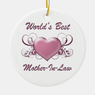 World's Best Mother-In-Law (Heart) Double-Sided Ceramic Round Christmas Ornament