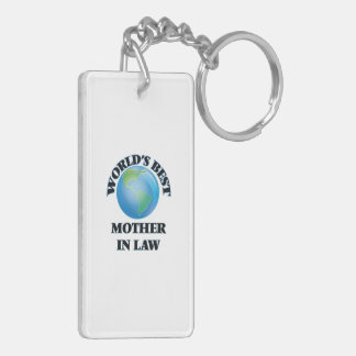 World's Best Mother-in-Law Double-Sided Rectangular Acrylic Keychain