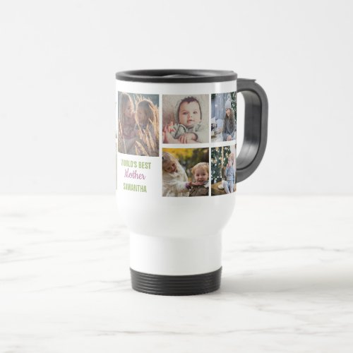 Worlds Best Mother Instagram Photo Collage Name Travel Mug