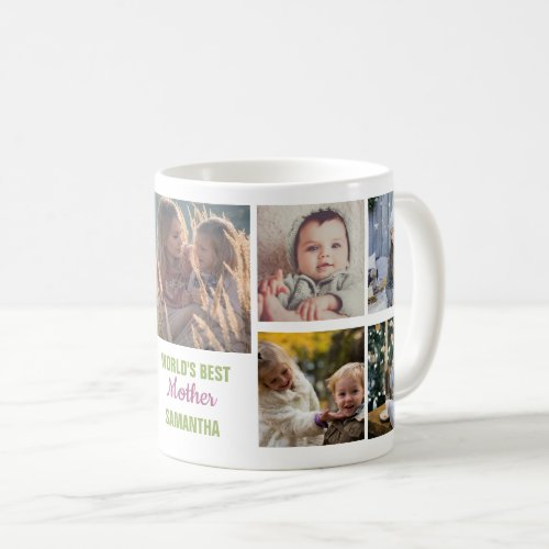 Worlds Best Mother Name  Instagram Photo Collage Coffee Mug