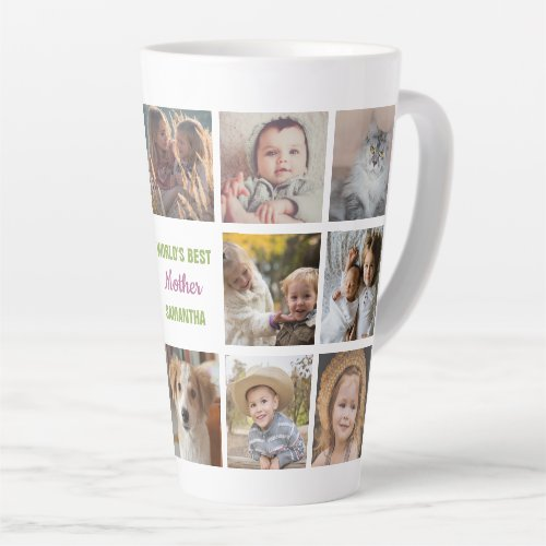 Worlds Best Mother Name Instagram Photo Collage Latte Mug