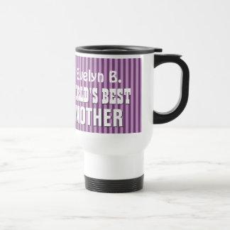 World's Best MOTHER with PURPLE STRIPES U29 Travel Mug