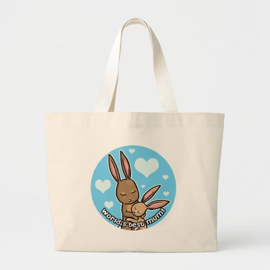 Worlds best Moum Bunny Large Tote Bag