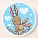Worlds best Mum Bunny Sandstone Coaster