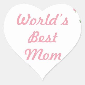 Worlds Best mum mothers day gift Heart Sticker