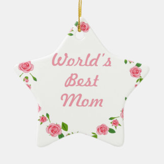 Worlds Best mum mothers day gift Double-Sided Star Ceramic Christmas Ornament