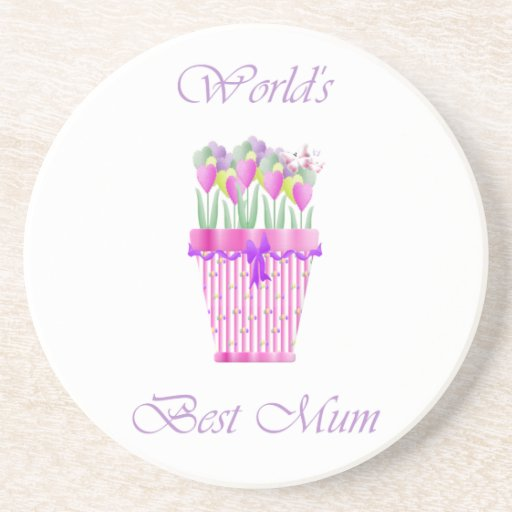 World's Best Mum (pink flowers) Drink Coasters