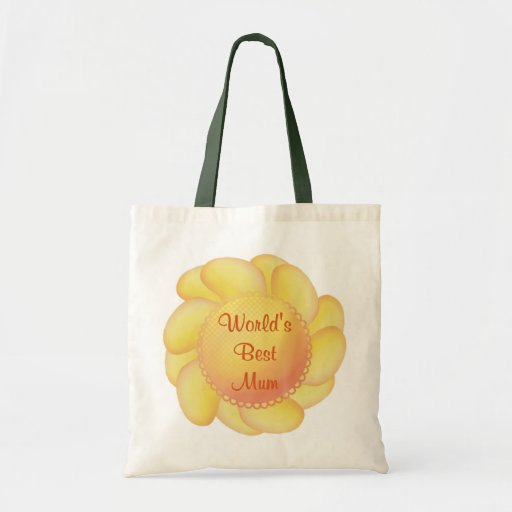 World's Best Mum (yellow flower) Budget Tote Bag
