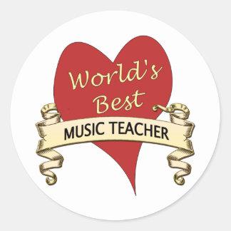 World's Best Music Teacher Classic Round Sticker