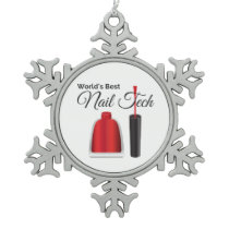 World's best nail technician snowflake pewter christmas ornament