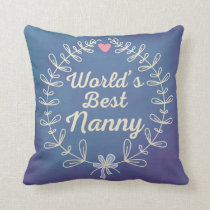 World's Best Nanny Grandma Wreath Pillow