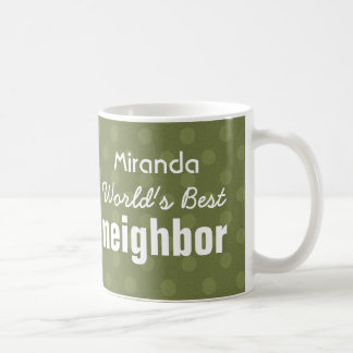 World's Best NEIGHBOR Green Polka Dot Pattern Coffee Mug