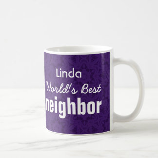World's Best NEIGHBOR Purple Custom Name v2 Coffee Mug